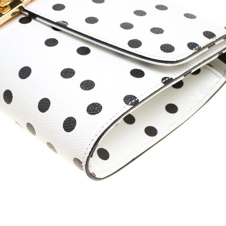 Dolce and Gabbana White Polka Dots Leather Padlock Chain Clutch 5