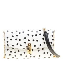 Dolce and Gabbana White Polka Dots Leather Padlock Chain Clutch