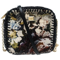 Dolce and Gabbana Woven Fabric and Raffia Shoulder Bag