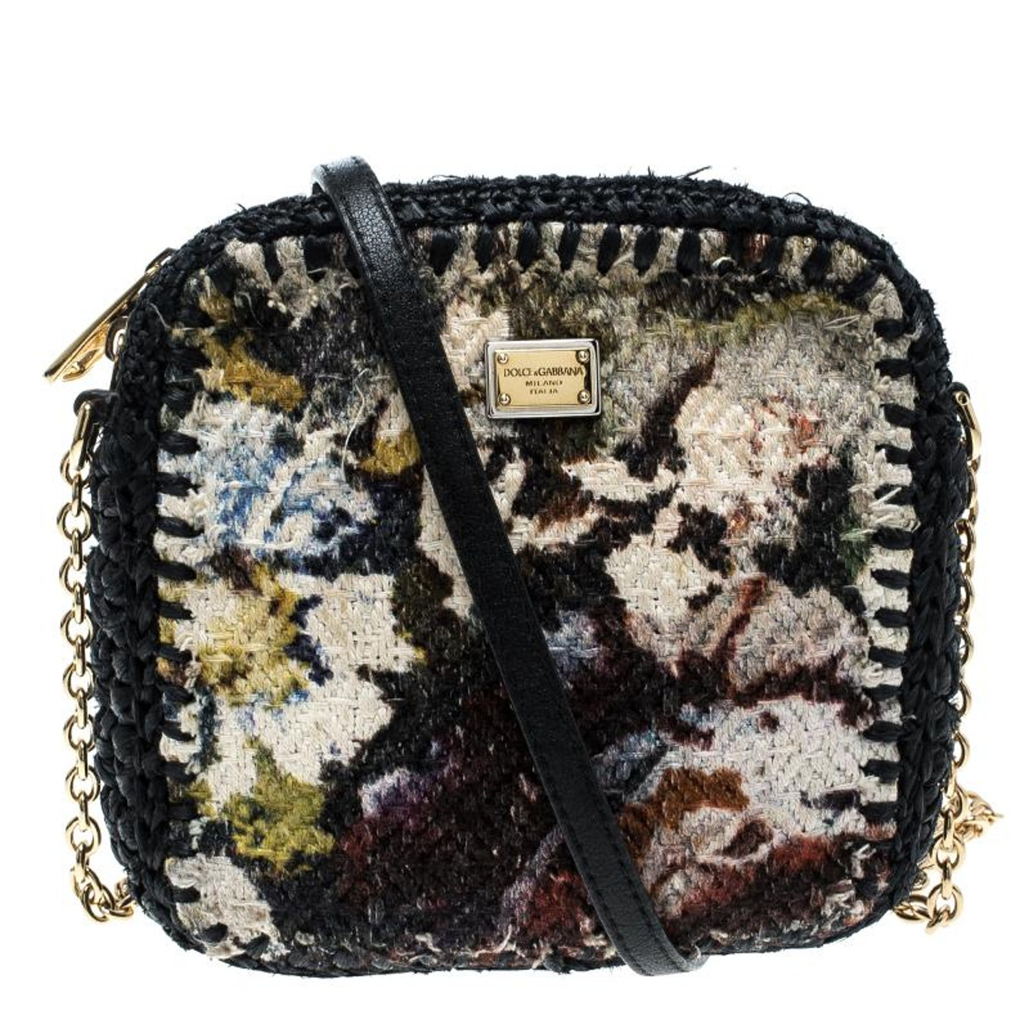9eb0f6badd Dolce and Gabbana Woven Fabric and Raffia Shoulder Bag For Sale at 1stdibs