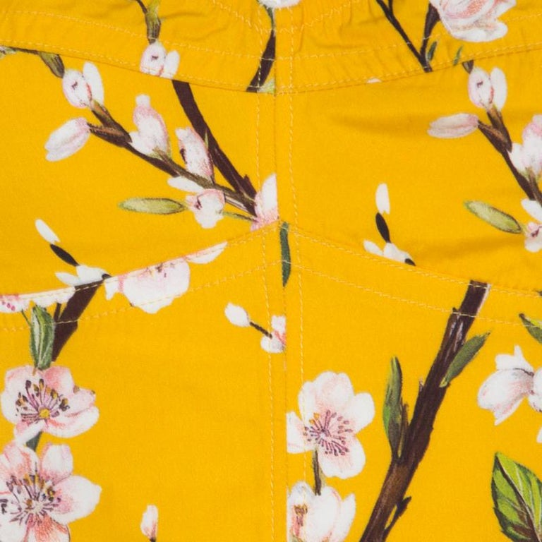 Dolce and Gabbana Yellow Almond Blossom Print Cotton Bustier Sheath Dress S For Sale 1