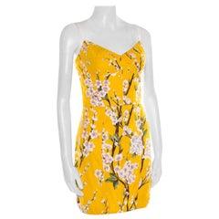 Dolce and Gabbana Yellow Almond Blossom Print Cotton Bustier Sheath Dress S