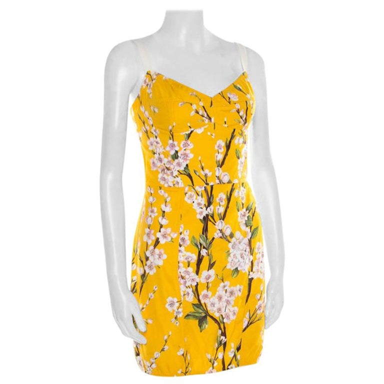 Dolce and Gabbana Yellow Almond Blossom Print Cotton Bustier Sheath Dress S For Sale