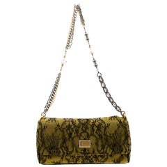 Dolce and Gabbana Yellow/Black Lace and Suede Miss Charles Shoulder Bag