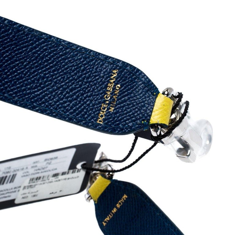 Dolce and Gabbana Yellow/Blue Leather Majolica Bag Strap For Sale 2