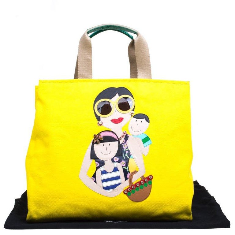 Dolce and Gabbana Yellow Canvas and Leather Maria Shopper Tote For Sale 7