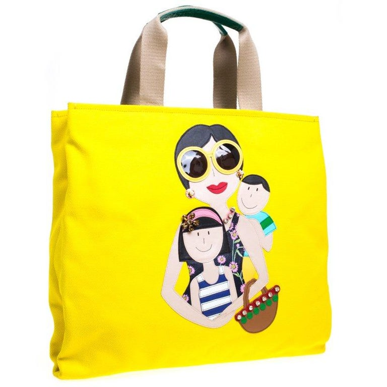Women's Dolce and Gabbana Yellow Canvas and Leather Maria Shopper Tote For Sale