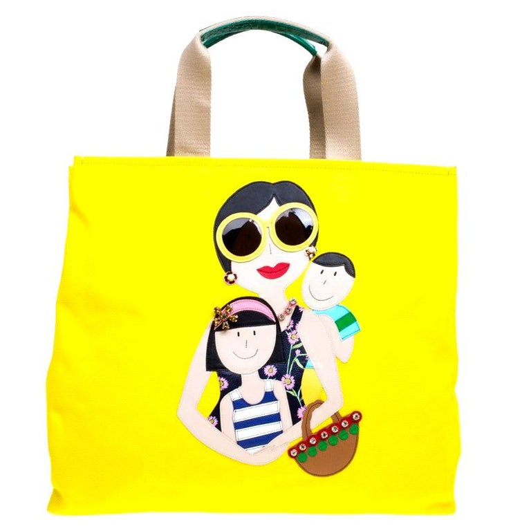 Dolce and Gabbana Yellow Canvas and Leather Maria Shopper Tote For Sale