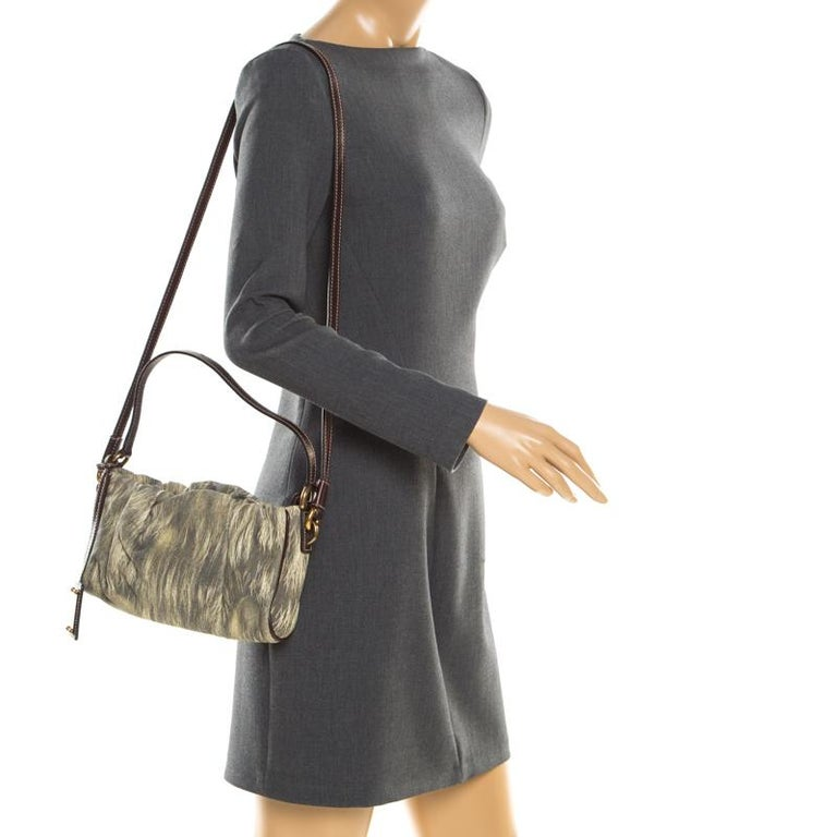 Brown Dolce and Gabbana Yellow/Grey Printed Leather Miss Night and Day Crossbody Bag For Sale