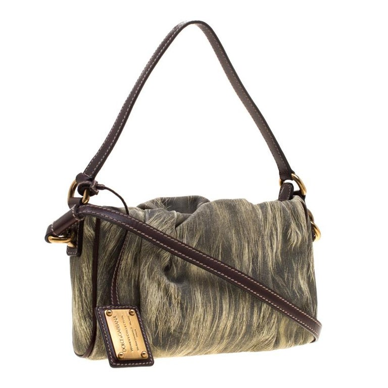 Women's Dolce and Gabbana Yellow/Grey Printed Leather Miss Night and Day Crossbody Bag For Sale
