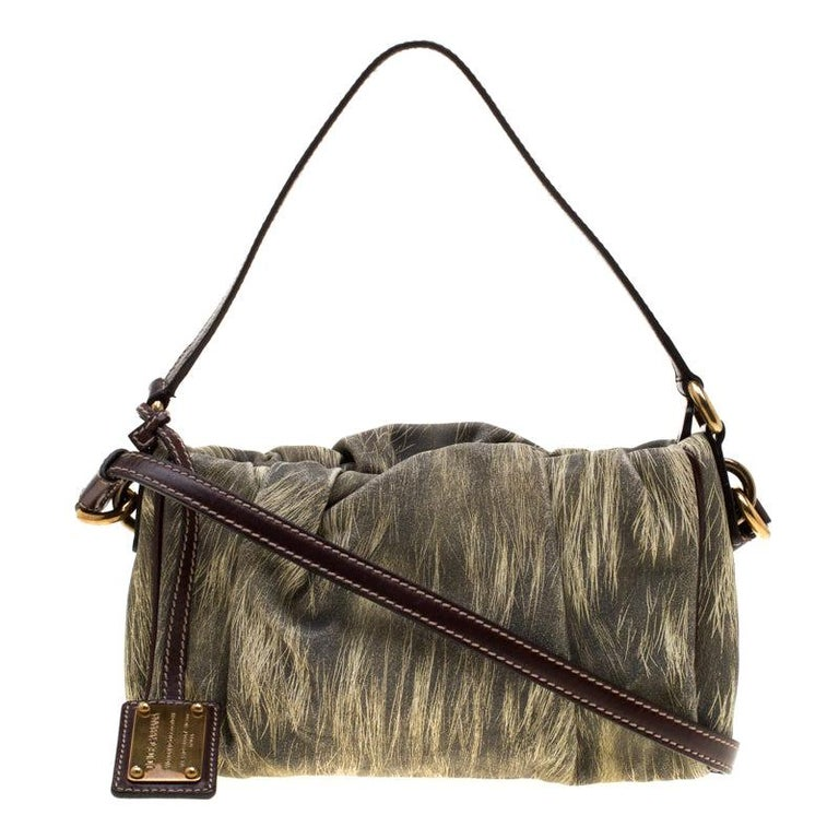 Dolce and Gabbana Yellow/Grey Printed Leather Miss Night and Day Crossbody Bag For Sale