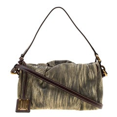 Dolce and Gabbana Yellow/Grey Printed Leather Miss Night and Day Crossbody Bag