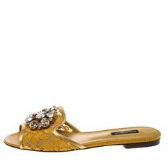 Dolce and Gabbana Yellow Lace Sofia Crystal Embellished Slides Size 37