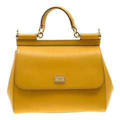 Dolce and Gabbana Yellow Leather Medium Miss Sicily Tote