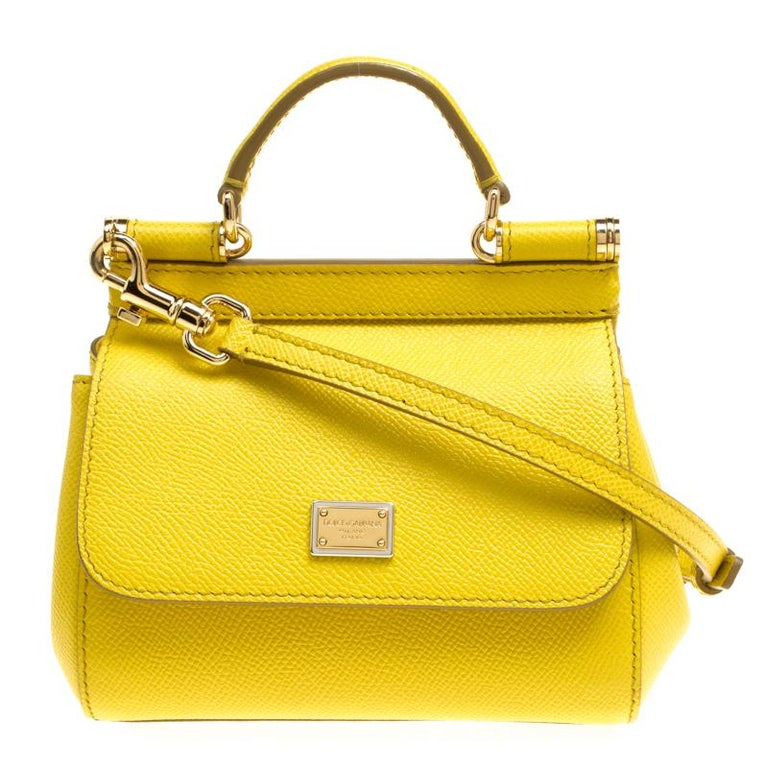 Dolce and Gabbana Yellow Leather Micro Miss Sicily Top Handle Bag at 1stdibs 2980925fc0ed6