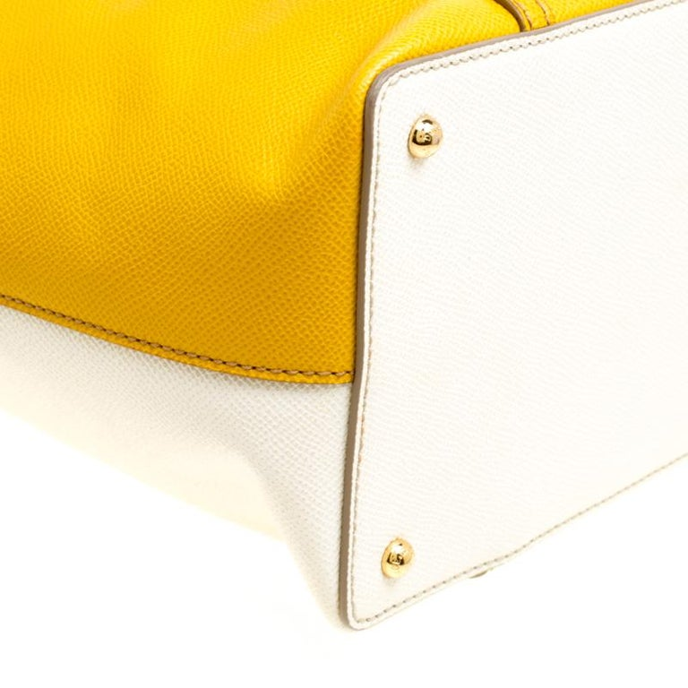 Dolce and Gabbana Yellow/Off White Leather Miss Escape Tote For Sale 6