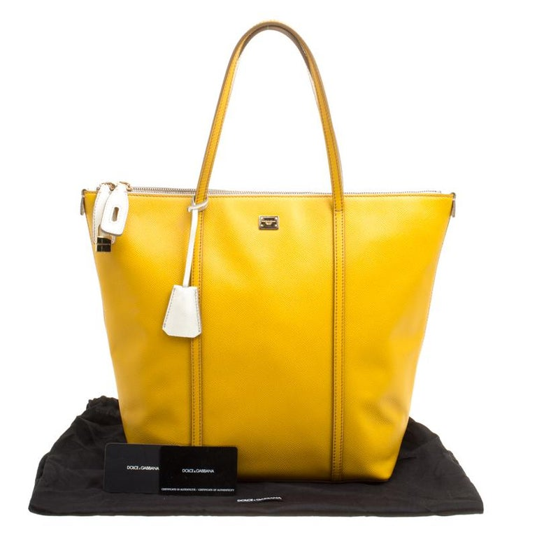 Dolce and Gabbana Yellow/Off White Leather Miss Escape Tote For Sale 7