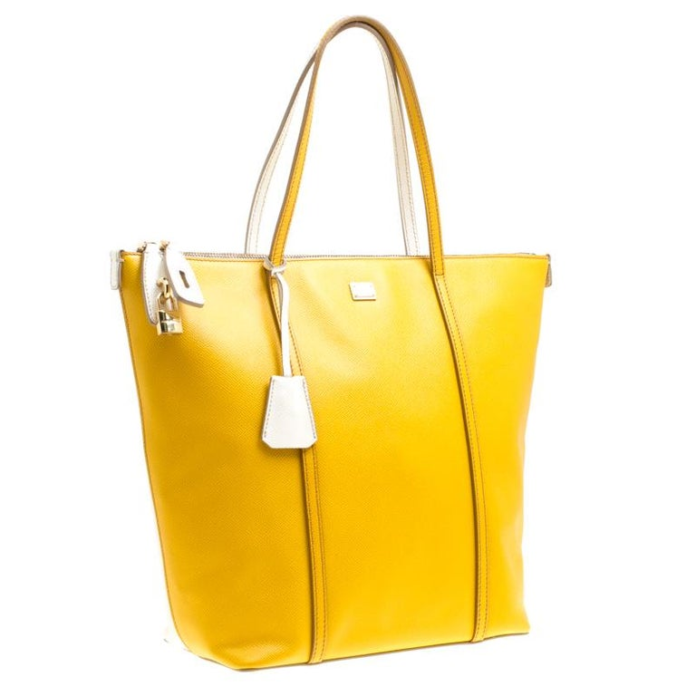 Women's Dolce and Gabbana Yellow/Off White Leather Miss Escape Tote For Sale