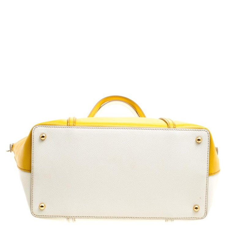Dolce and Gabbana Yellow/Off White Leather Miss Escape Tote For Sale 1
