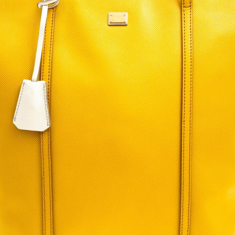 Dolce and Gabbana Yellow/Off White Leather Miss Escape Tote For Sale 2
