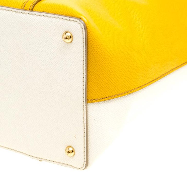 Dolce and Gabbana Yellow/Off White Leather Miss Escape Tote For Sale 5