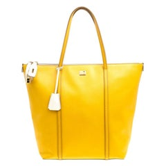 Dolce and Gabbana Yellow/Off White Leather Miss Escape Tote