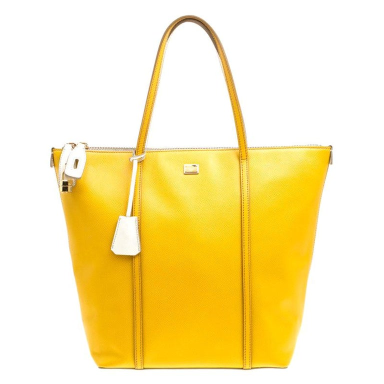 Dolce and Gabbana Yellow/Off White Leather Miss Escape Tote For Sale