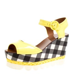 Dolce and Gabbana Yellow Patent Leather Bubble Sole Espadrille Wedge Platform