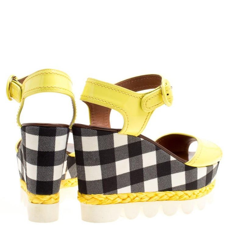 Dolce and Gabbana Yellow Patent Leather Bubble Sole Sandals Size 38.5 For Sale 1