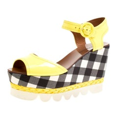 Dolce and Gabbana Yellow Patent Leather Bubble Sole Sandals Size 38.5