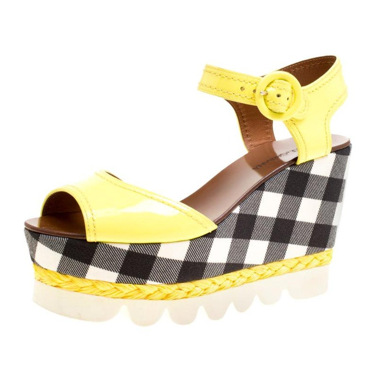 Dolce and Gabbana Yellow Patent Leather Bubble Sole Sandals Size 38.5 For Sale