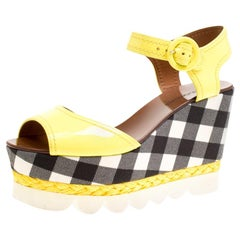 Dolce and Gabbana Yellow Patent Leather  Espadrille Wedge Platform Sandals 38.5