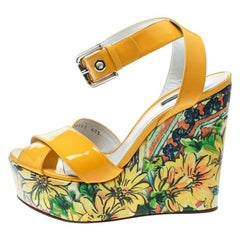 Dolce and Gabbana Yellow Patent Leather Floral Printed Wedge Ankle Strap Sandals
