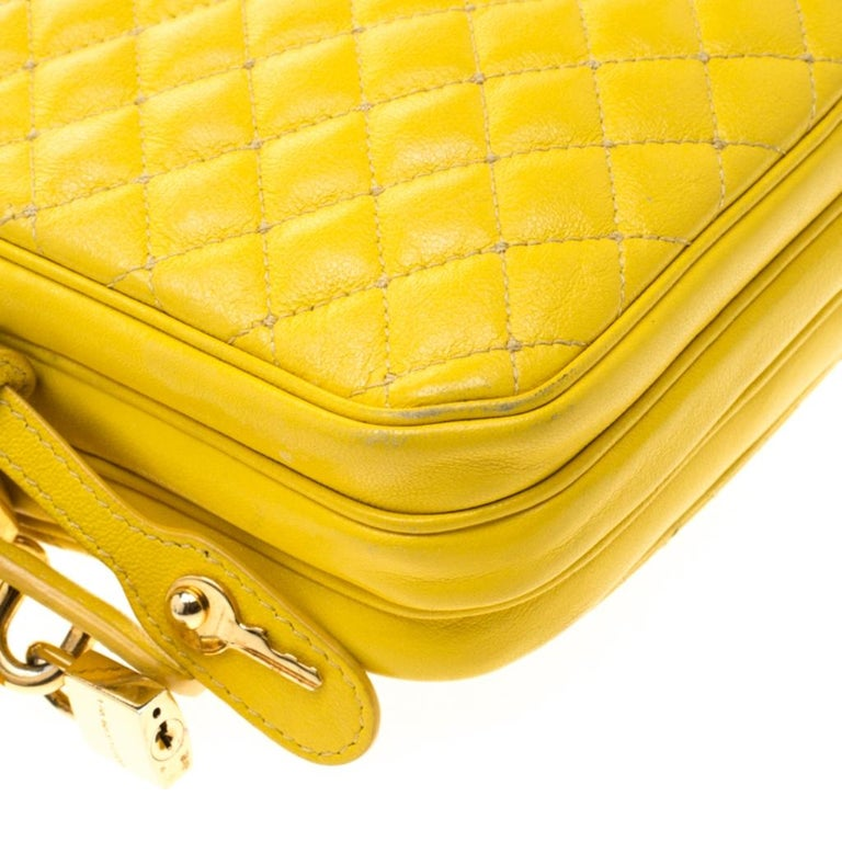 Dolce and Gabbana Yellow Quilted Leather Crossbody Bag 6