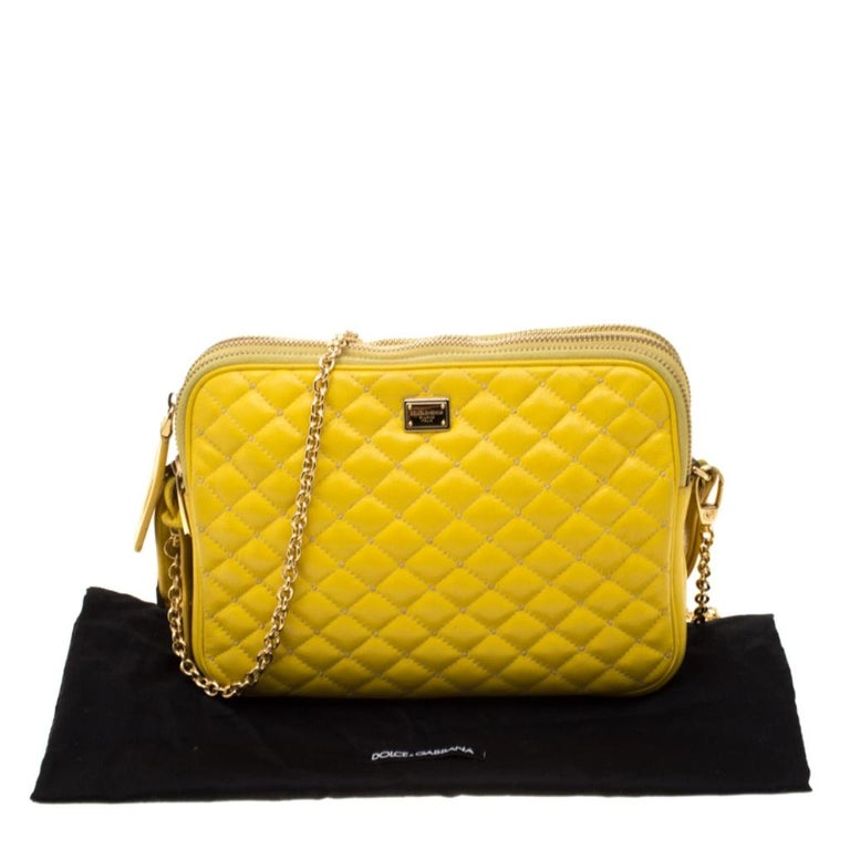 Dolce and Gabbana Yellow Quilted Leather Crossbody Bag 7