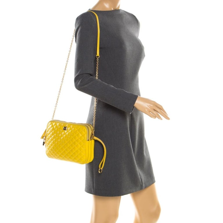Dolce and Gabbana Yellow Quilted Leather Crossbody Bag In Good Condition In Dubai, Al Qouz 2
