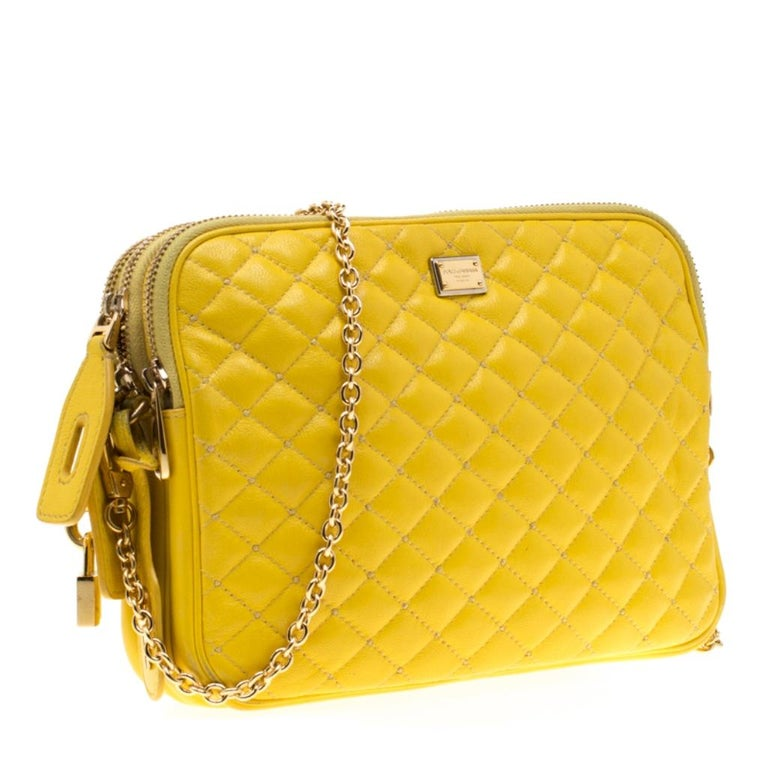 Women's Dolce and Gabbana Yellow Quilted Leather Crossbody Bag