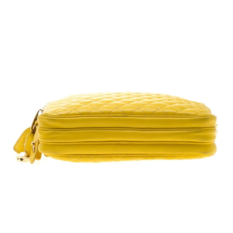Dolce and Gabbana Yellow Quilted Leather Crossbody Bag 1