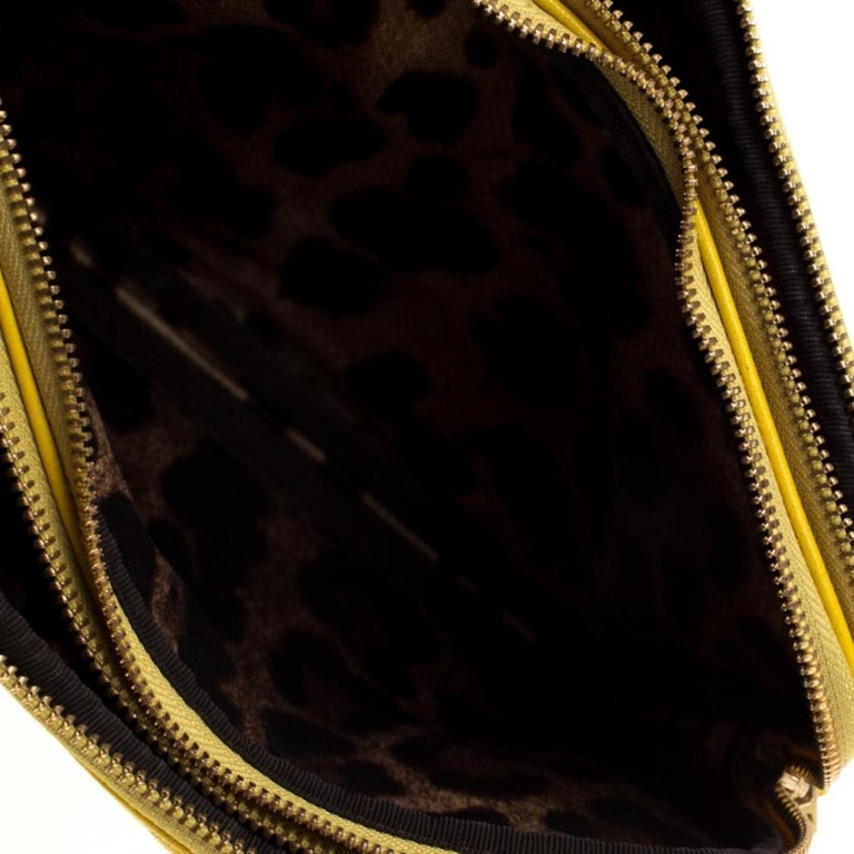 Dolce and Gabbana Yellow Quilted Leather Crossbody Bag 3