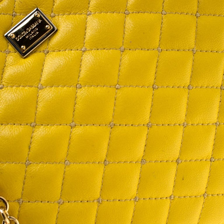 Dolce and Gabbana Yellow Quilted Leather Crossbody Bag 4