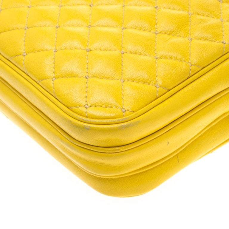 Dolce and Gabbana Yellow Quilted Leather Crossbody Bag 5