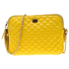 Dolce and Gabbana Yellow Quilted Leather Crossbody Bag