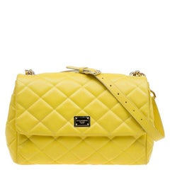 Dolce and Gabbana Yellow Quilted Leather Miss Kate Shoulder Bag