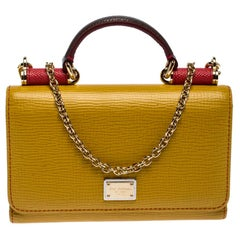 Dolce and Gabbana Yellow/Red Leather Sicily Smartphone Von Bag