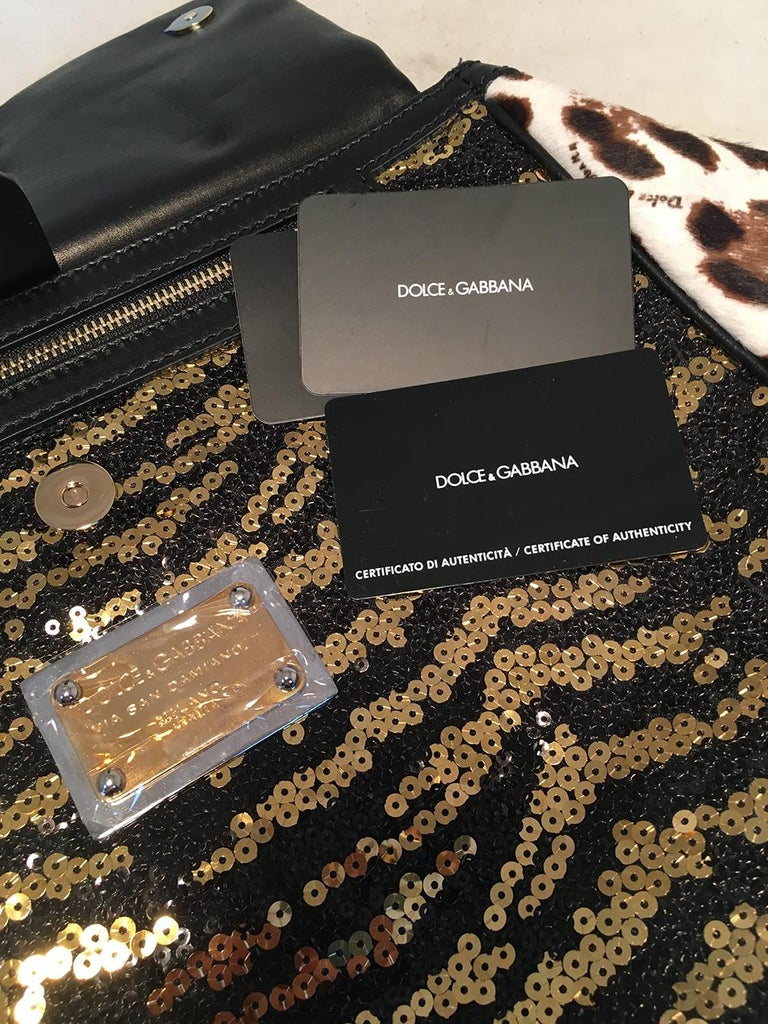 864328da6223 Dolce and Gabbana Zebra Sequin and Leopard Print Fur Miss Sicily Bag For  Sale 5