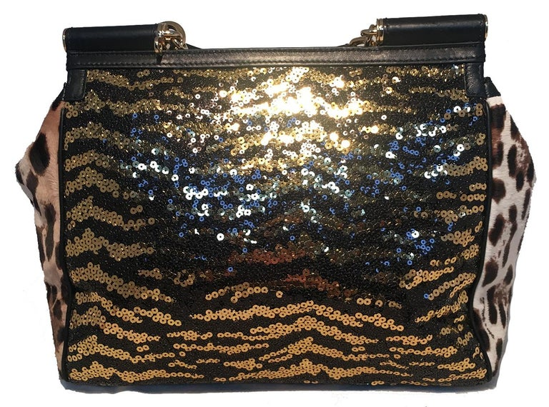 efb821fefc12 Black Dolce and Gabbana Zebra Sequin and Leopard Print Fur Miss Sicily Bag  For Sale
