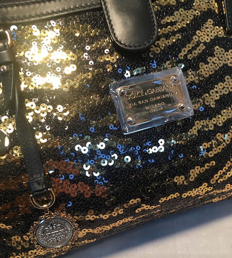 841877f3b107 Dolce and Gabbana Zebra Sequin and Leopard Print Fur Miss Sicily Bag For  Sale 2