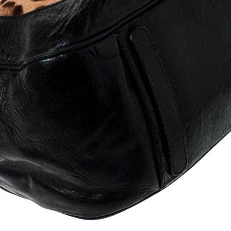 Dolce & Gabanna Black/Brown Leather Miss Romantique Satchel For Sale 6