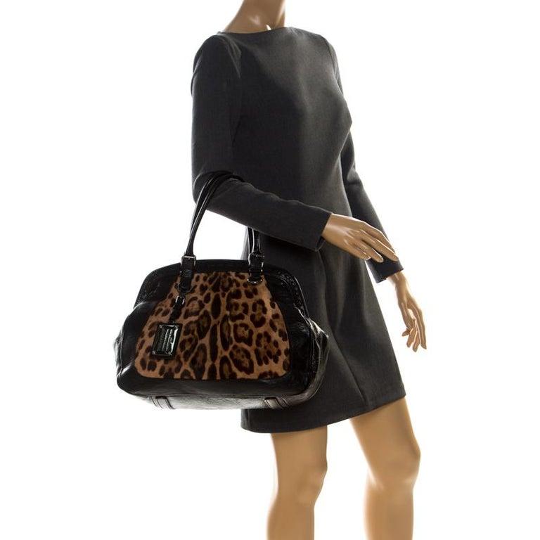 Dolce & Gabanna Black/Brown Leather Miss Romantique Satchel In Good Condition For Sale In Dubai, Al Qouz 2
