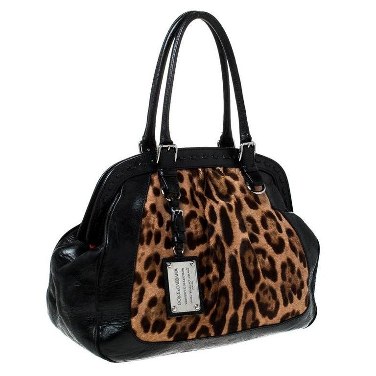 Women's Dolce & Gabanna Black/Brown Leather Miss Romantique Satchel For Sale